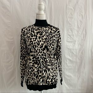 Calvin Klein Leopard Print Turtleneck Sweater